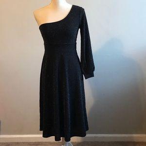 West Kei sparkle silver black one shoulder dress